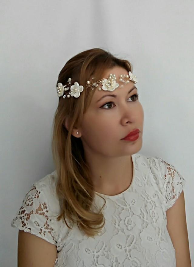 wedding photo - Bridal Headband Gold Wedding Headband, Gold Headband, Pearl Headband Bridal Headpiece Bridal Hair Vine, Fabric Flower Headband Halo HeadBand
