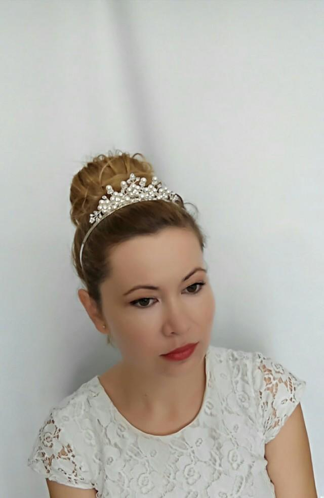 wedding photo - Bridal Headband Bridal Crown, Bridal Tiara Wedding Tiara, Pearl Tiara, Princess Tiara, Bridal Headpiece Tiara Headband, Wedding Crown