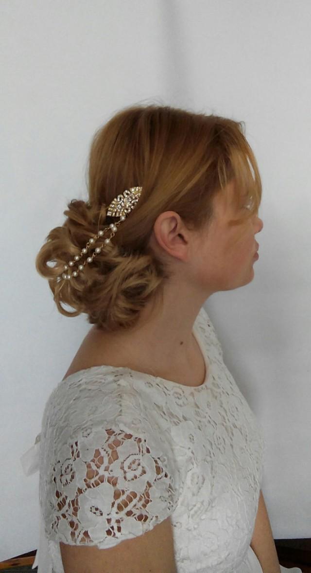 wedding photo - Art Deco Hair Chain Art Deco Hair Pearls, Bridal Hair Chain Gold, Art Deco Bridal Hair Piece Art Deco Hair Accessories Bridal Headpiece LARA