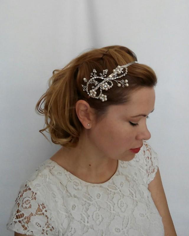 wedding photo - Bridal Headband, Crystal Wedding Headband, Crystal and Rhinestone Headband, Bridal Tiara, Pearl Bridal Headband, Bridal Hair Piece - Thalia
