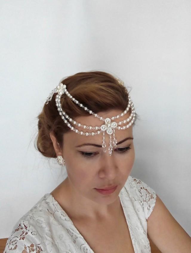 wedding photo - Bridal Hair Accessories, Bridal Hair Chain, 1920s Headpiece, Bridal Forehead Band Bridal Headpiece Pearl Hair Jewelry Hair Chain Jewelry BEA