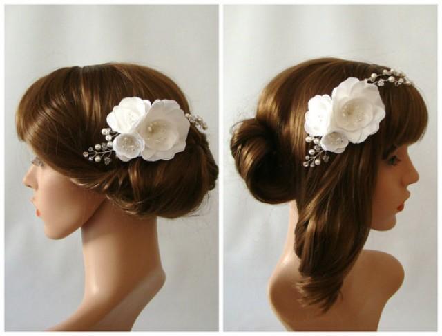 wedding photo - Wedding Hair Vine, Wedding Flower Headpiece, Bridal Hair Vine, Floral Headpiece, Flower Headpiece, Floral Hair Piece, Flower Hair Wreath
