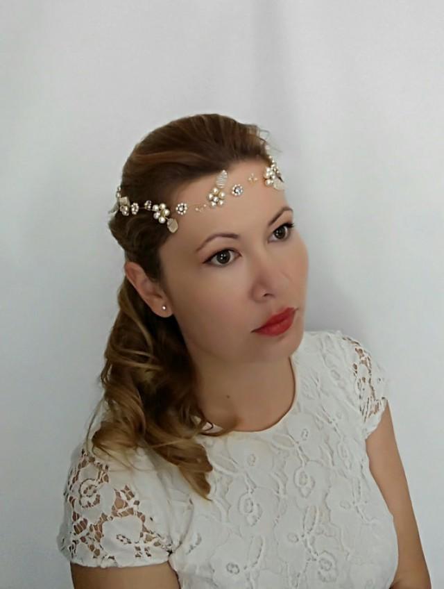 wedding photo - Gold Wedding Headpiece, Gold Headpiece, Gold Head Piece, Bridal Flower Crown Pearl Wedding Headband, Gold Headband, Bridal Halo Headpiece