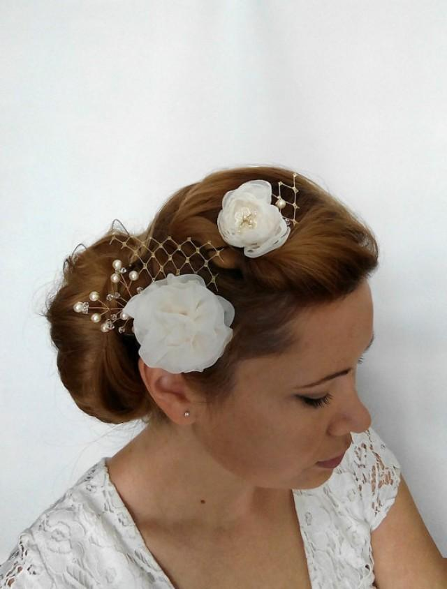 wedding photo - Gold Flower Hair Clip, Gold Hair Clip, Ivory Flower Hair Piece, Gold Hair Piece Accessories Gold and Pearl Hair Piece Gold Flower Headpiece