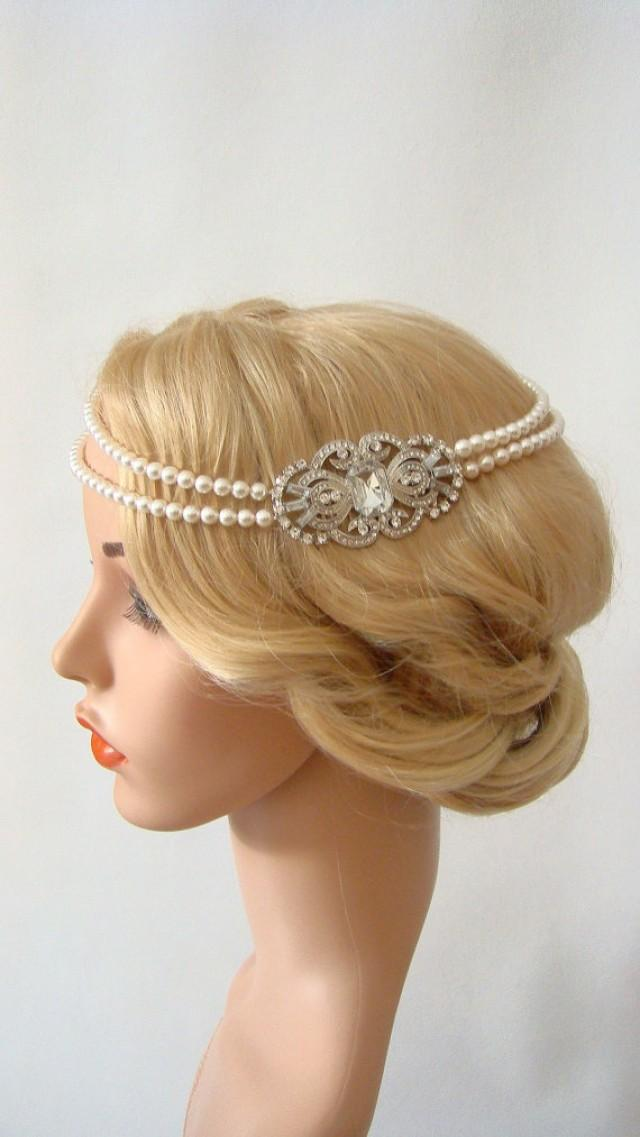 wedding photo - Bridal Pearl Headband, Crystal Headpiece Vintage, Crystal Bridal Headband, 1920s Headpiece, Pearl Hair Chain, 1920s Headband, Flapper