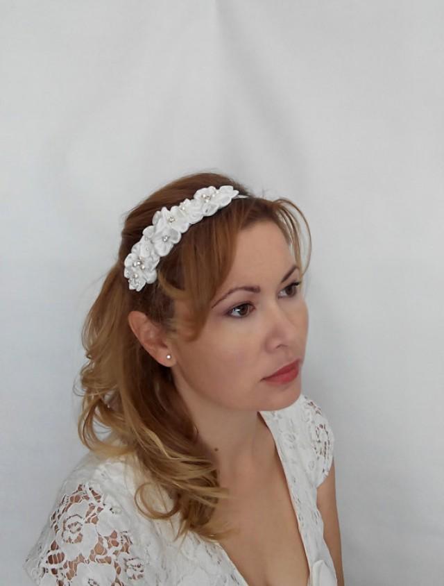 wedding photo - Bridal Flower Headband, Bridal Flower Hairpiece, Wedding Flower Headband, Bridal Flower Crown with Silk Flowers