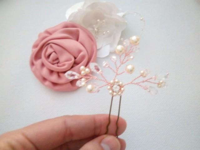 wedding photo - Rose Gold Hair Pin Set, Pearl Hair Pins, Rose Gold Hair Pieces with Flower and Leaf Motife