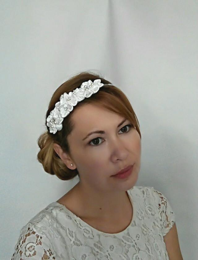 wedding photo - Ivory Flower Headband, Satin Flower and Pearl Bridal Headband, Bridal Flower Headband for Wedding, Pearl Bridal Headpiece, Wedding Headband