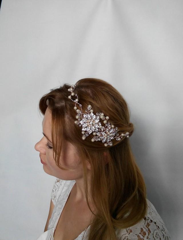 wedding photo - Rose Gold Headband, Rose Gold Head Piece, Rose Gold Tiara, Rose Gold Hair Vine, Rose Gold Accessories