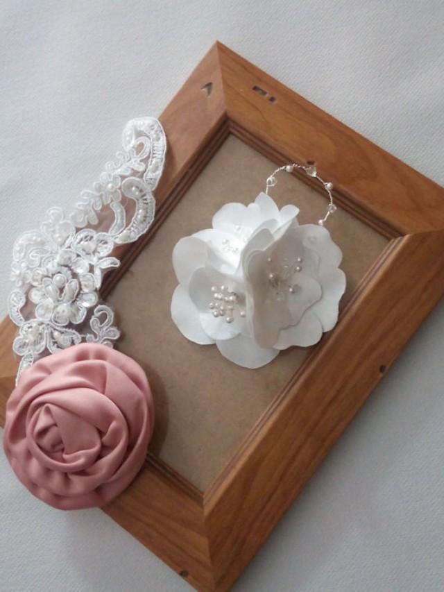 wedding photo - Bridal Flower Headpiece, Flower Hair Clip, Wedding Flower Hair Clip, Flower Fascinator, Flower Hair Piece, Bridal Hair Clip
