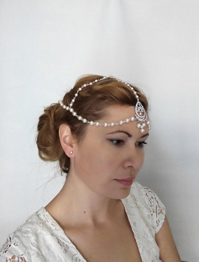 wedding photo - 1920s Bridal Hair Chain, Bridal Headpiece, Wedding Headband 1920s Bohemian Bridal Forehead Band, Pearl Head Chain Hair Jewelry