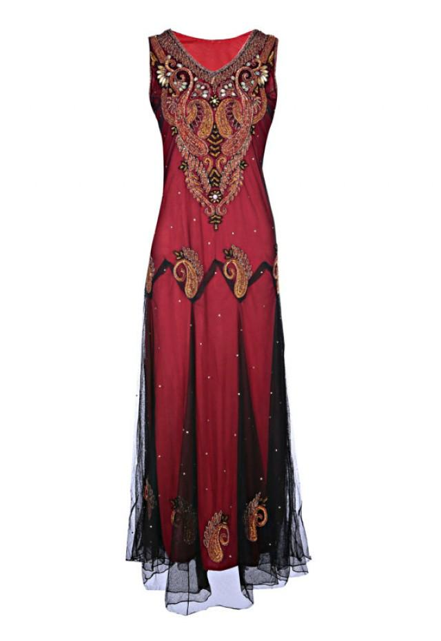 wedding photo - Anjali Burnt Red Dress, Gold Embroidered Indian Gypsy Dress, Ancient Style Wedding Dress, Indian Boho Ethnic, Long Evening Dress, XXL
