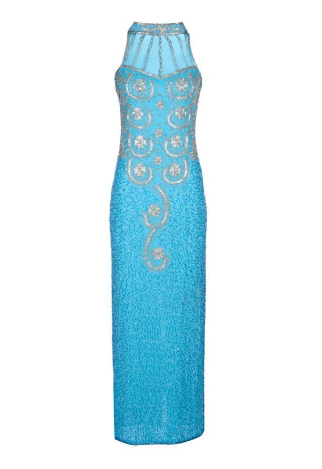 b2d7f1ea2d Vita 1920's Great Gatsby Style Dress, Art Deco Blue Dress, long Embellished  Maxi Dress, Wedding Reception, Evening Formal Gown, Medium