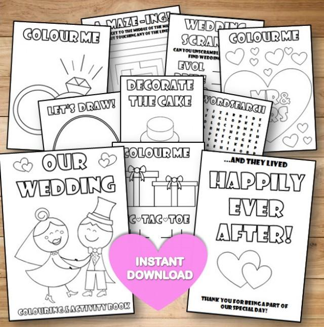 kids wedding colouring activity book instant download pdf reception gamecolouring pagesprintable colouring activity english spelling - Kids Activity Book Printable