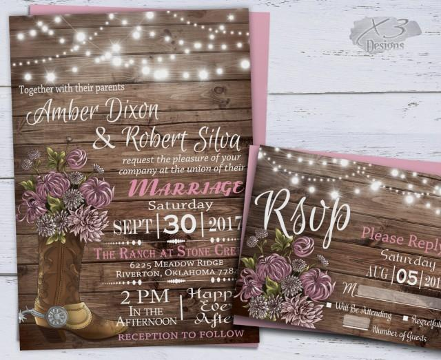 wedding photo - Country Western Wedding Invitations, Printable Rustic Wedding, Spring Floral Wedding, Cowboy Boot, String Lights, Barn Wedding Invite, Pink - $39.00 USD
