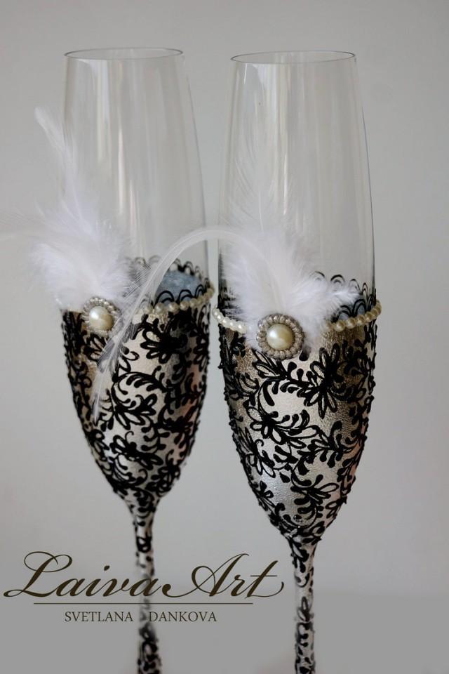 wedding photo - Silver Wedding Champagne Flutes Wedding Champagne Glasses Gatsby Style Wedding Toasting Flutes Silver and Black Wedding - $55.00 USD