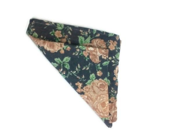 wedding photo - men's gift vintage roses pattern pocket square wedding handkerchief floral bow tie and pocket square prom handkerchief gifts for groomsmen - $16.16 USD