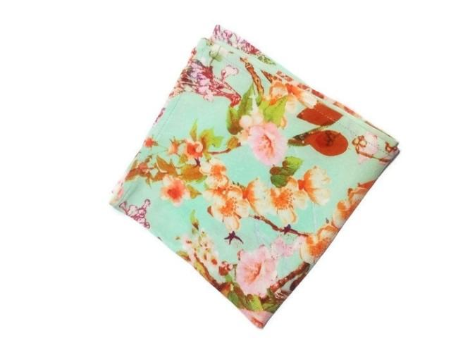 wedding photo - sakura pocket square mint floral handkerchief wedding pocket squares and bow ties groom's handkerchief gift for boyfriend groomsmen jkikjilk - $16.16 USD