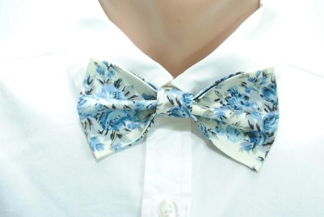 wedding photo - Ivory bow tie Blue bow tie Floral bow tie Men's bow tie Wedding bow tie Groom's bow tie Ringbearer bow tie Groomsmen bow ties Self tie hjyoi - $12.00 USD