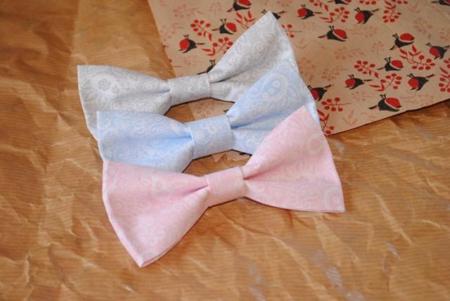 wedding photo - Groom bow tie blush paisley bow tie pale blue paisley bow tie pale grey paisley bow tie groomsmen bowties pastel wedding necktie ring bearer - $9.27 USD