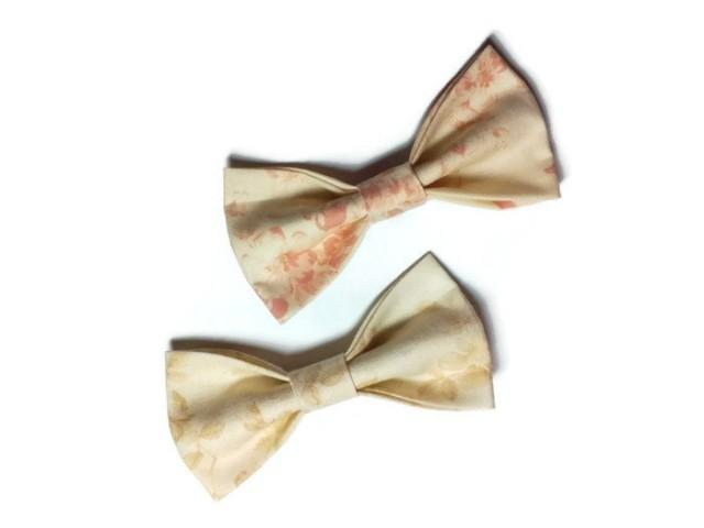 wedding photo - Weddings accessories Neckties Pastel brown bow tie Beige brown bow tie Pastel pale pink bowtie Champagne floral necktie Groom's bowtie bhuy - $10.18 USD