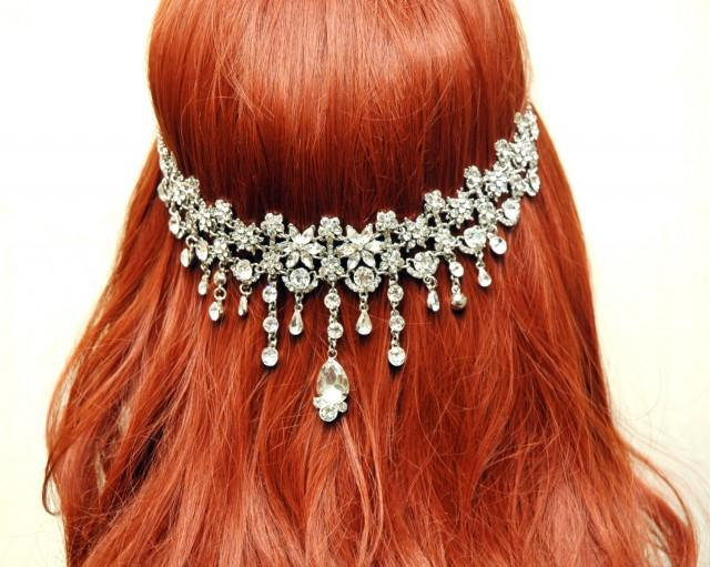 wedding photo - Wedding Hair Accessories Hair Jewelry, Bridal Headband, FREE SHIPPING Hair Chain, Crystal Headband, Forhead Band, Hair Jewelry, Prom Hair Accessories - $80.00 USD
