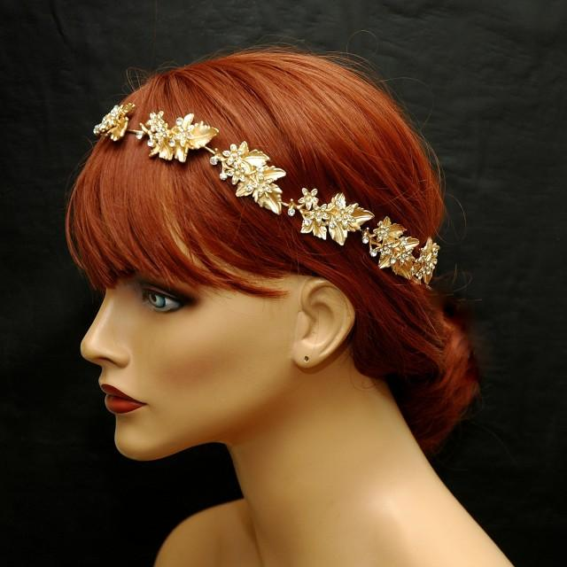 wedding photo - Gold Bridal Headpiece Hair Jewelry Leaf Wedding Headband FREE SHIPPING Flower Gold Bridal Hair Vine Rustic Halo Tiara Boho Crown Leaf Headband Wreath - $85.00 USD