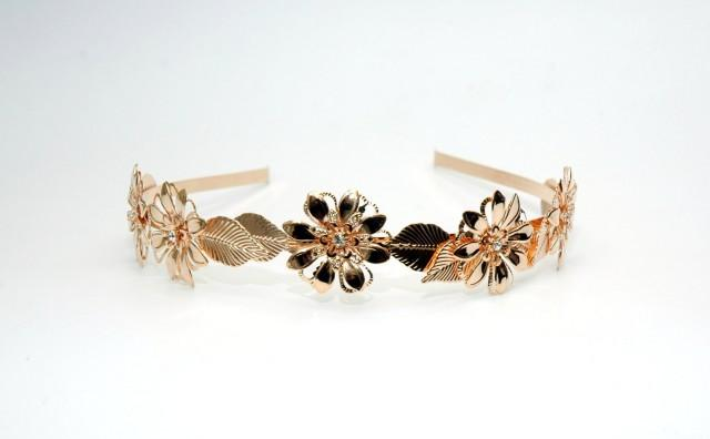 wedding photo - Leaf Headband Floral Rose Gold Headband FREE SHIPPING Crystal Wedding Headband, Flower Headpiece, Bridal Hair Piece, Crystal Headband - $30.00 USD