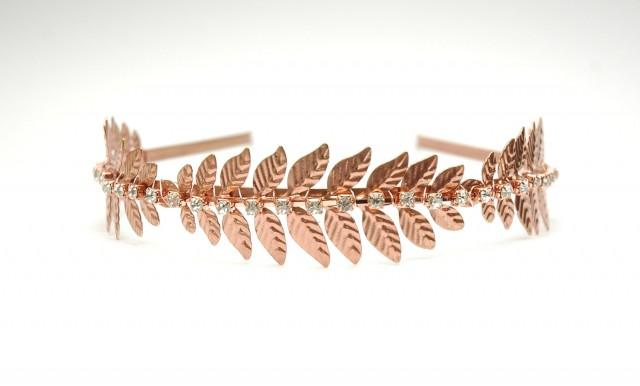 wedding photo - Wedding Headband FREE SHIPPING Rose Gold Leaf Bridal Headband Rhinestone Grecian Boho Wedding Headpiece Copper Laurel Leaf Greek Goddess - $35.00 USD