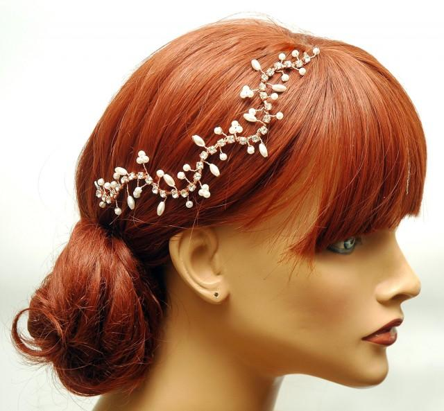 wedding photo - FREE SHIPPING Floral Rose Gold Bridal Hair Vine, Pearl Wedding Headpiece, Crystal Hair Vine, Boho Rhinestone Headpiece Hair Jewelry Wedding - $45.00 USD