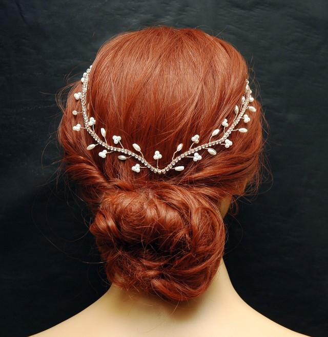 wedding photo - Wedding Headband, Hair Jewelry Rose Gold Bridal Hair Vine, FREE SHIPPING Pearl Wedding Headpiece, Crystal Hair Vine, Rhinestone Headpiece, Hair Jewelry - $52.00 USD