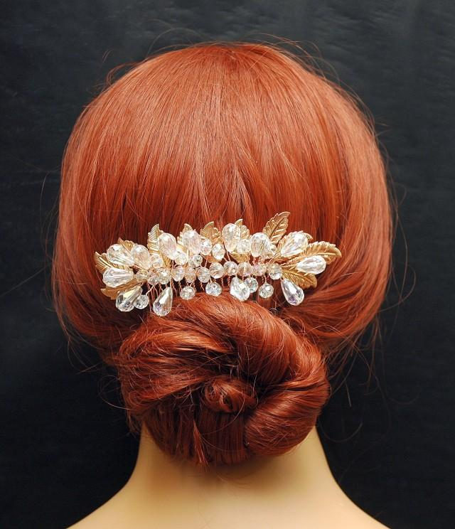 wedding photo - Wedding Hair Comb Hair Jewelry Rose Gold Floral Bridal Hair Comb, Crystal Hair Comb, Leaf Comb, Wedding Hair Piece, Rose Gold Headpiece, Hair Jewelry - $55.00 USD