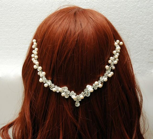 wedding photo - Wedding Pearl Headpiece Silver, Hair Jewelry Grecian Halo Wedding Hair Chain, Rhinestone Bridal Headpiece, Hair Vine, 1920s Headpiece, Wedding Hair Comb - $40.00 USD