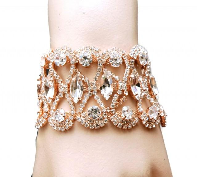 wedding photo - Rose Gold Prom Bracelet Bridal Bracelet, Wedding Bracelet, 1920s Rhinestone Rose Gold Bracelet, Rose Gold Jewelry, Wedding Accessories - $45.00 USD