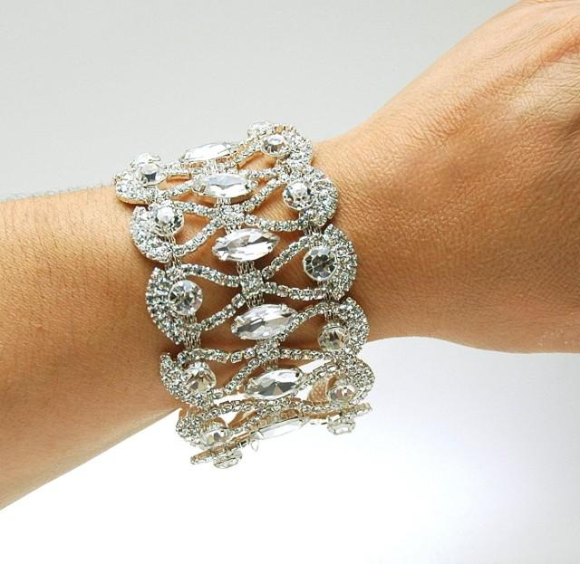 wedding photo - Bridal Cuff Bracelet, Art Deco Silver Crystal Bracelet, Prom Gold Rhinestone Bracelet, Wedding 1920s Old Hollywood Bracelet, Prom Jewelry - $45.00 USD