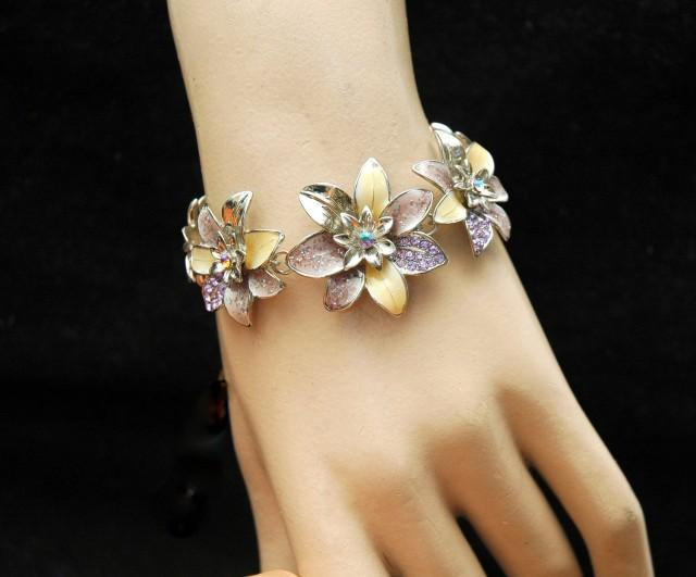 wedding photo - Flower Prom Bracelet, Purple Crystal Bracelet, Silver Bracelet, Daisy Flower, Crystal Necklace, Purple Bracelet, Purple Necklace, Prom - $24.99 USD