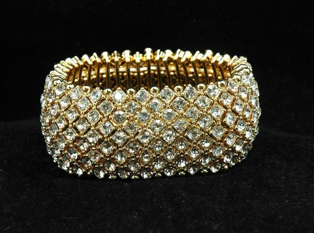 wedding photo - FREE SHIPPING Gold Crystal Bridal Cuff Bracelet , Wedding Bracelet, Prom Bracelet, 1920s Rhinestone Bracelet, Prom, Gifts for Her - $40.00 USD