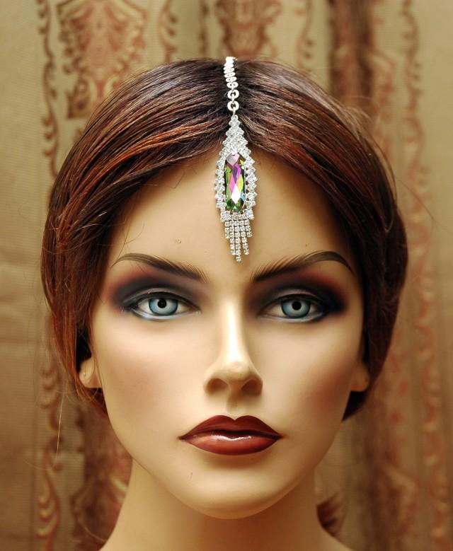 wedding photo - FREE SHIPPING Maang Tikka Headpiece, Hair Jewelry Bridal Headpiece, Hair Chain Accessory, Indian Head Jewelry, Chain Headpiece, Bollywood India Jewelry - $20.00 USD