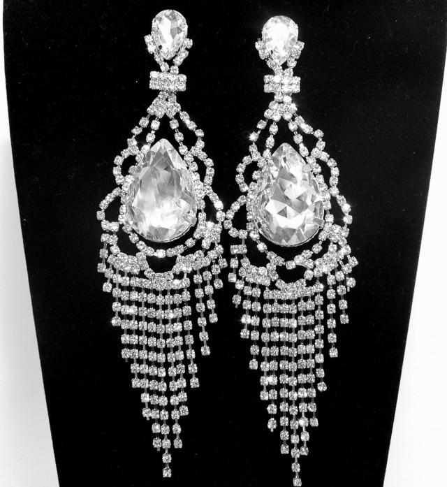 wedding photo - Art Deco Rhinestone Bridal Earrings FREE SHIPPING Long Wedding Earrings, Prom Silver Earrings, Diamond Chandelier Earrings, Prom Earring - $30.00 USD