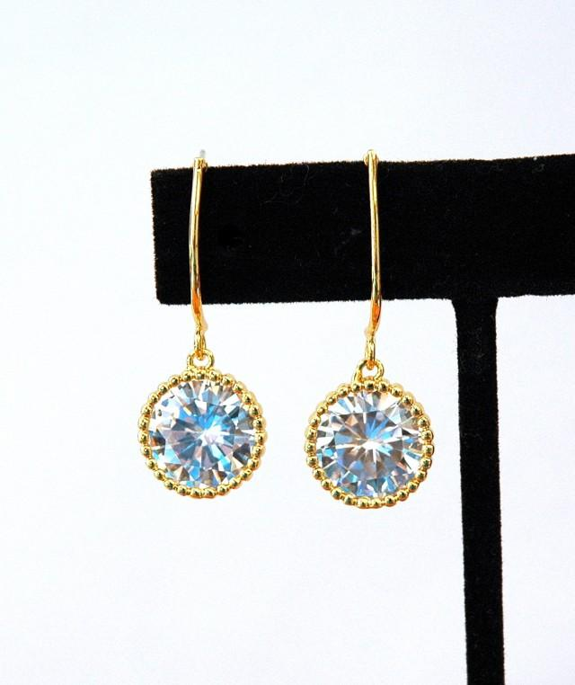 wedding photo - FREE SHIPPING Gold Crystal Bridal Earrings prom Earrings Wedding Earrings Gold Earrings, Bridesmaids Gifts, Bridal Party Gift, Prom Jewelry - $22.00 USD