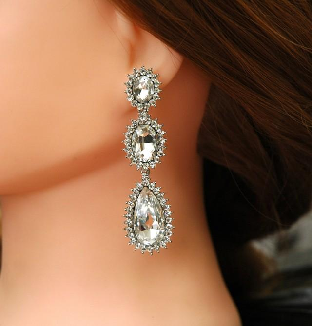 wedding photo - Crystal Bridal Earrings FREE SHIPPING Teardrop Wedding Chandelier Earrings Rhinestone Earrings Art Deco Earrings Prom Jewelry, Prom Earrings - $34.50 USD