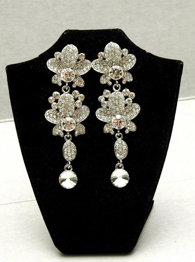 wedding photo - FREE SHIPPING Bridal Earrings Wedding Earrings Pearl Earring Chandelier earrings Dangle Crystal Earrings, Prom Silver Earrings, Prom Jewelry - $38.50 USD