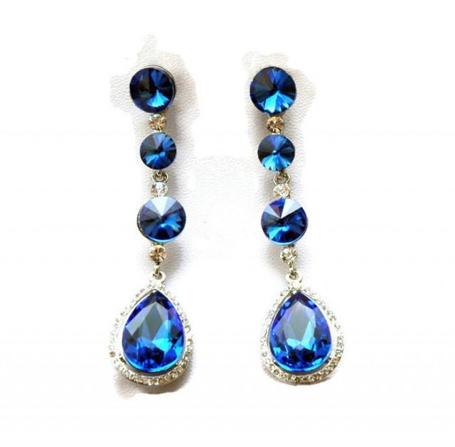 wedding photo - Crystal Bridal Earrings FREE SHIPPING Prom Blue Earrings Crystal Chandelier Earrings Formal Crystal Earrings, Prom Earrings - $32.00 USD