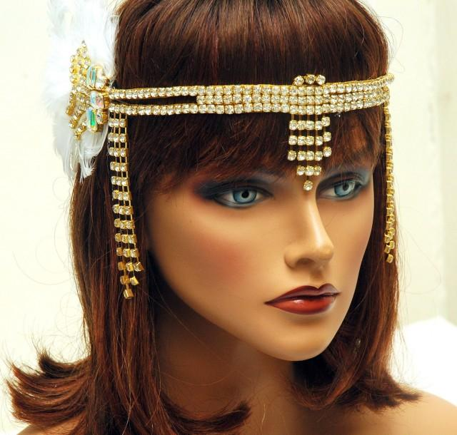 wedding photo - Great Gatsby Headband, 1920s Headpiece, Hair Jewelry Gold Flapper Feather Headband, Art Deco Headpiece, Flapper Roaring 20s Hair Accessories, Prom - $140.00 USD