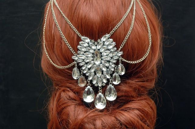 wedding photo - FREE SHIPPING Art Deco Wedding Headpiece, Hair Jewelry Crystal Bridal Hair Chain, Prom Headpiece, Wedding Hair Piece, Bohemian Bridal Head Piece - $30.00 USD