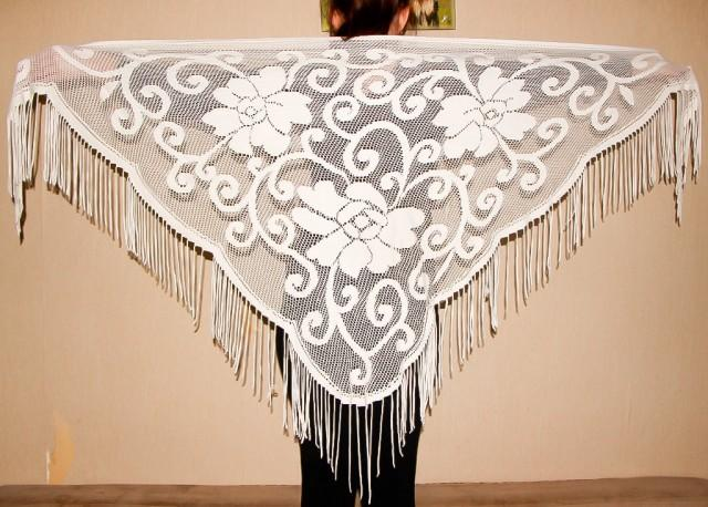 wedding photo - White Lace Shawl Fringe Belly Dance Scarf Triangular Floral Scarf Vintage Bohemian Style Shawl Gypsy Dancing Accessory Hip Flamenco Shawl - $38.00 USD