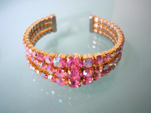 wedding photo - Pink Rhinestone Bracelet, Aurora Borealis, Bridal Cuff Bracelet, Deco, Gatsby, Crystal Wedding Bracelet, Bridal Jewelry, Vintage, Sparkly
