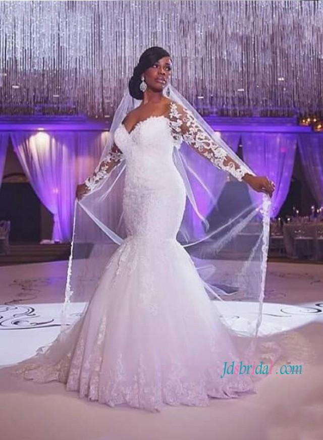 wedding photo - Sexy sweetheart neck mermaid lace wedding dress