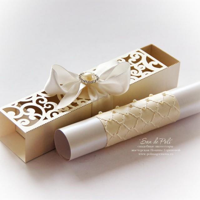 Wedding Box Invitations Scroll Roll Card Template Swirl