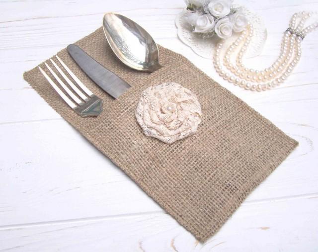 wedding photo - Wedding Flatware Set of 10 Burlap Cutlery Holder Ivory Wedding Silverware Holders Rustic Wedding Table Setting Country Table Decor - $18.20 USD